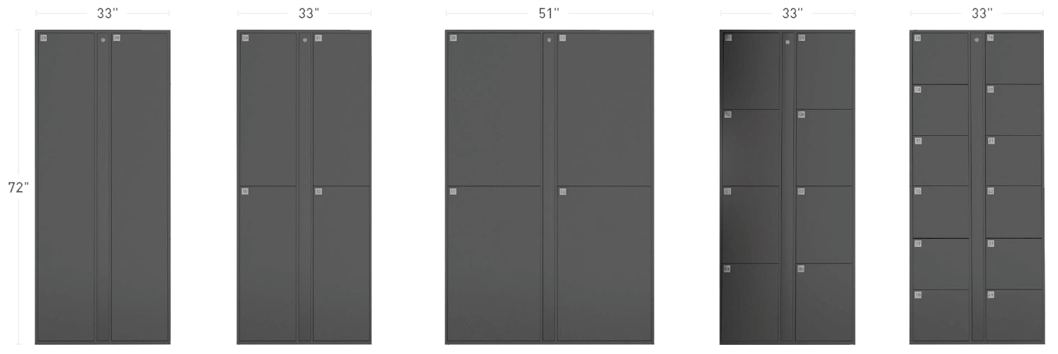 E-Locker Cabinet Configurations and Size Illustrations for 2-Door, 4-door, Wide-body 4-door, 8-door and 12-door cabinets