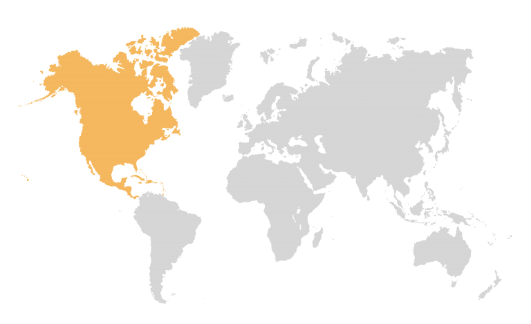 Service Area Map with North America in Yellow and rest of world greyed out